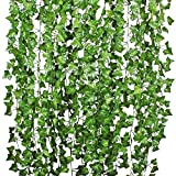 YQing Plantas Hiedra Artificial Decoración Interior y Exterior 84ft-12 Guirnalda Hiedra Artificial...